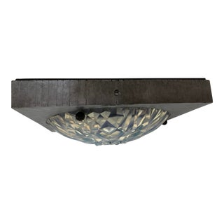 Hunnebelle French Iron Glass LIght Fixture For Sale