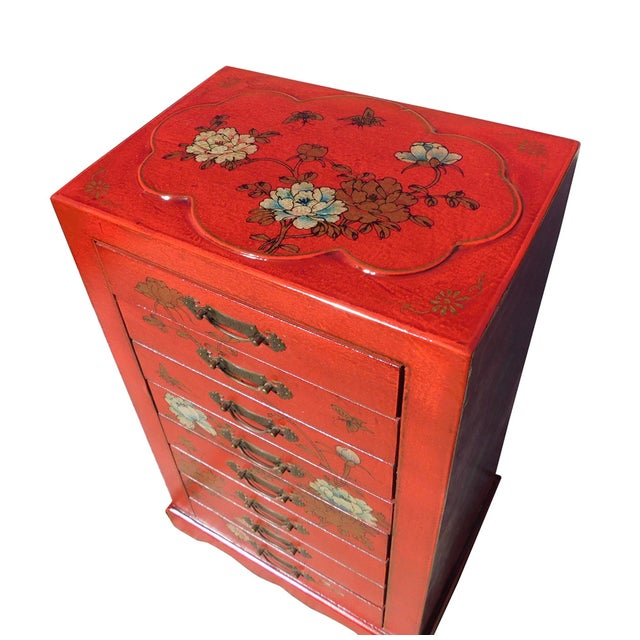 Miniature Red Vinyl Flower & Butterflies Chest of Drawers - Image 4 of 6