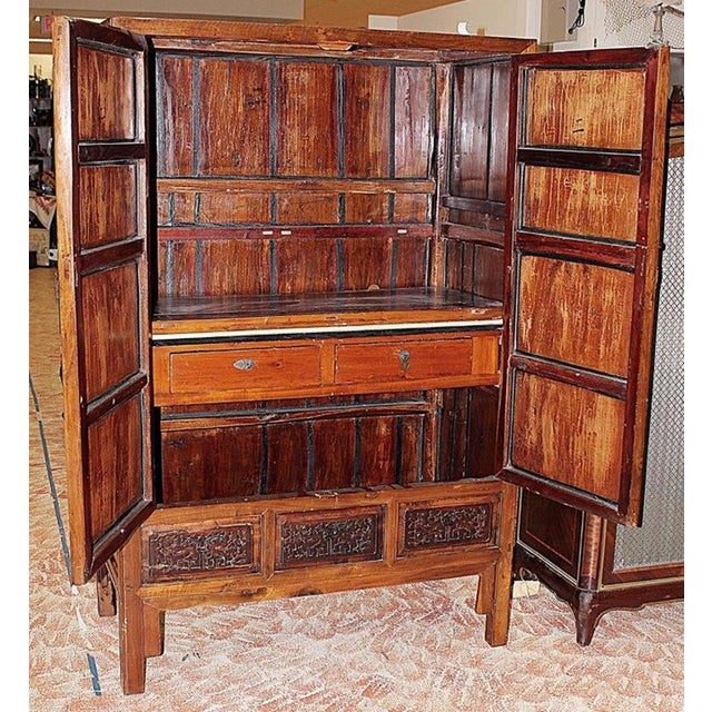 Brass Chinese Armoire Cabinet For Sale - Image 7 of 9