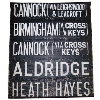 Black and White Vintage Bus Sign For Sale