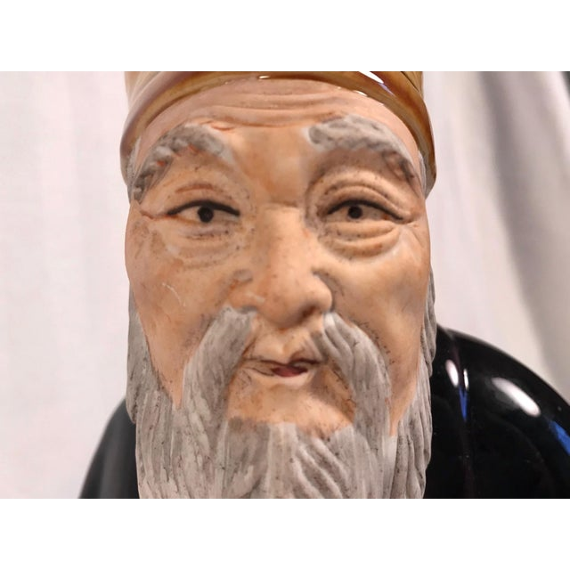 Vintage Large Chinese Hand Painted Mudman Figure For Sale - Image 9 of 13
