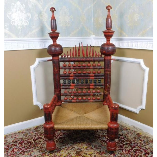Antique Indian Sankheda Red Lacquered Armchair - Image 2 of 10
