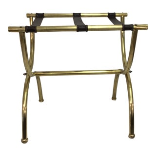 Brass & Leather Luggage Stand