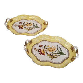 Chelsea House Yellow Handled Porcelain Trays - a Pair For Sale