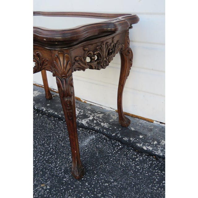 Early 20th Century Early 1900s Hand Carved Violin Inlay Coffee Table With Serving Glass Tray For Sale - Image 5 of 12