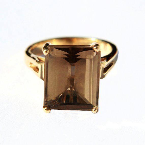 1980s 14k Gold Smokey Topaz Ring For Sale - Image 5 of 6