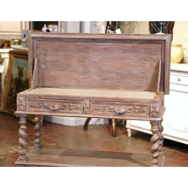 Late 19th Century 19th Century French Henri II Carved White Washed Oak and Marble Sideboard Server For Sale - Image 5 of 13