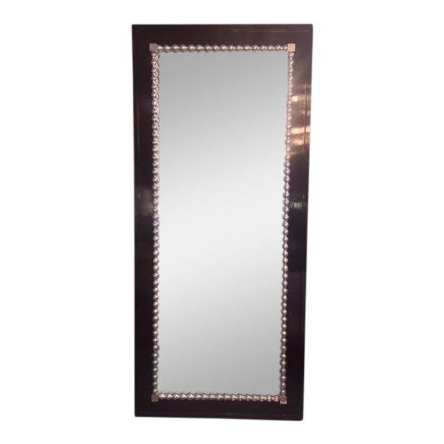 1960s Vintage Black & Silver Leaf Mirror For Sale