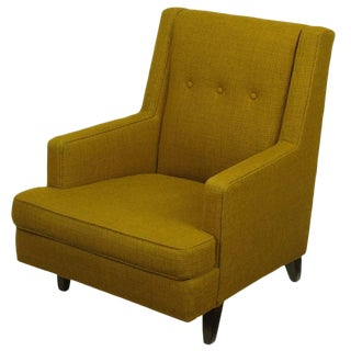Edward Wormley Lounge Chair in Moss Green Wool Upholstery For Sale