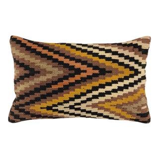 "Mustard Mid-Century Kilim Pillow | 12 X 20"" For Sale"