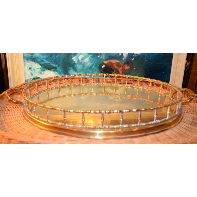 Hollywood Regency Brass Bamboo Tray - Image 3 of 6