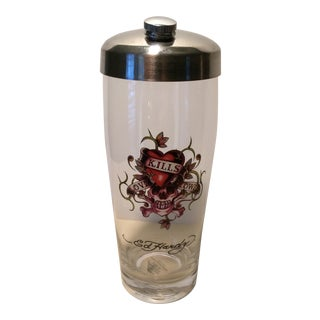 """Ed Hardy"" Glass & Stainless Steel Cocktail Shaker For Sale"