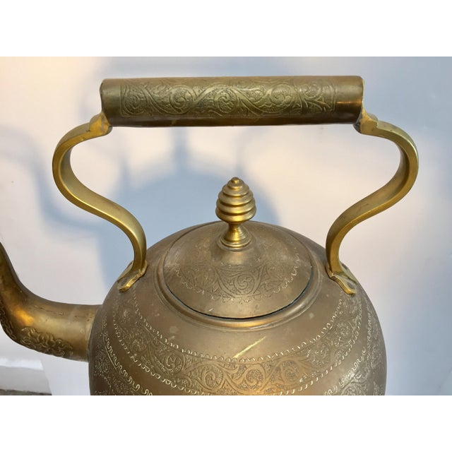 Moroccan Antique Brass Tea Kettle Pot on Stand For Sale - Image 10 of 12