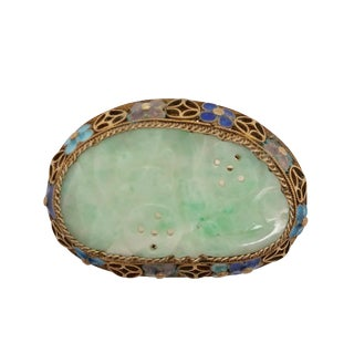 Vintage Chinese Gilt Silver Jade and Enamel Pin For Sale