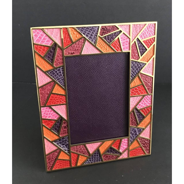 Contemporary Multi-Color Crocodile Skin Gold-Plated Photo Frame by Fabio Ltd For Sale - Image 3 of 8