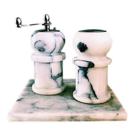 1970s Art Deco White Marble Salt Shaker + Pepper Grinders and Base - 3 Piece Set For Sale
