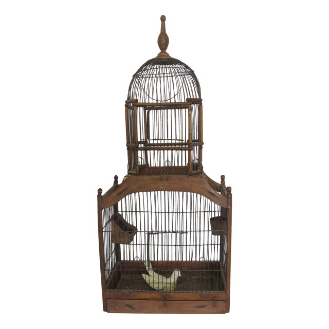 1880s Antique Wood & Wire Birdcage For Sale