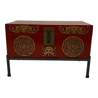 Chinese Red Trunk on Custom Iron Stand For Sale