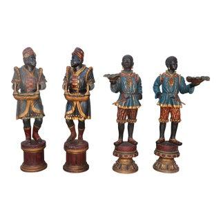 Set of 4 Blackamoor Italian Life size Statues