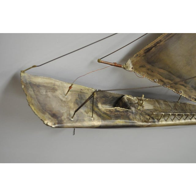 Gold Vintage RaMan Brutalist Mid Century Modern Clipper Ship Wall Sculpture Jere Style For Sale - Image 8 of 11