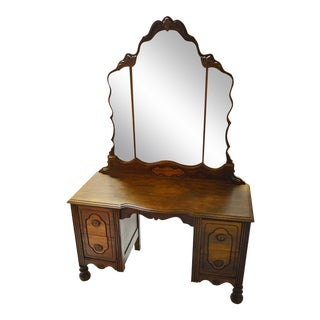 Antique Tiger Oak Vanity With Mirror