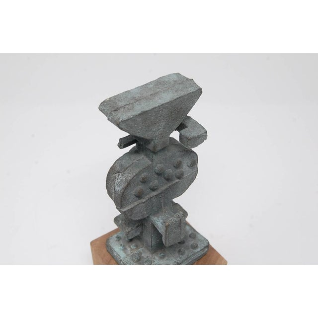 Brutalist Bronze Sculpture on Wooden Base For Sale In Providence - Image 6 of 7