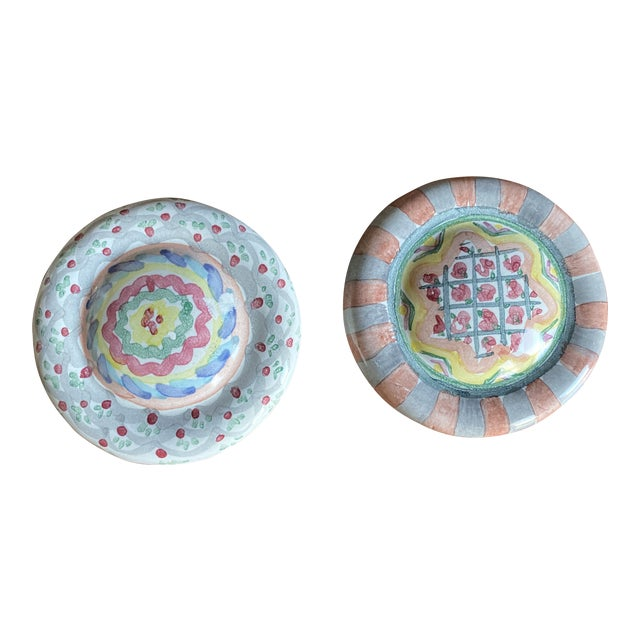 1990's Mackenzie Childs Hand Painted Ceramic Door Pulls - a Pair For Sale