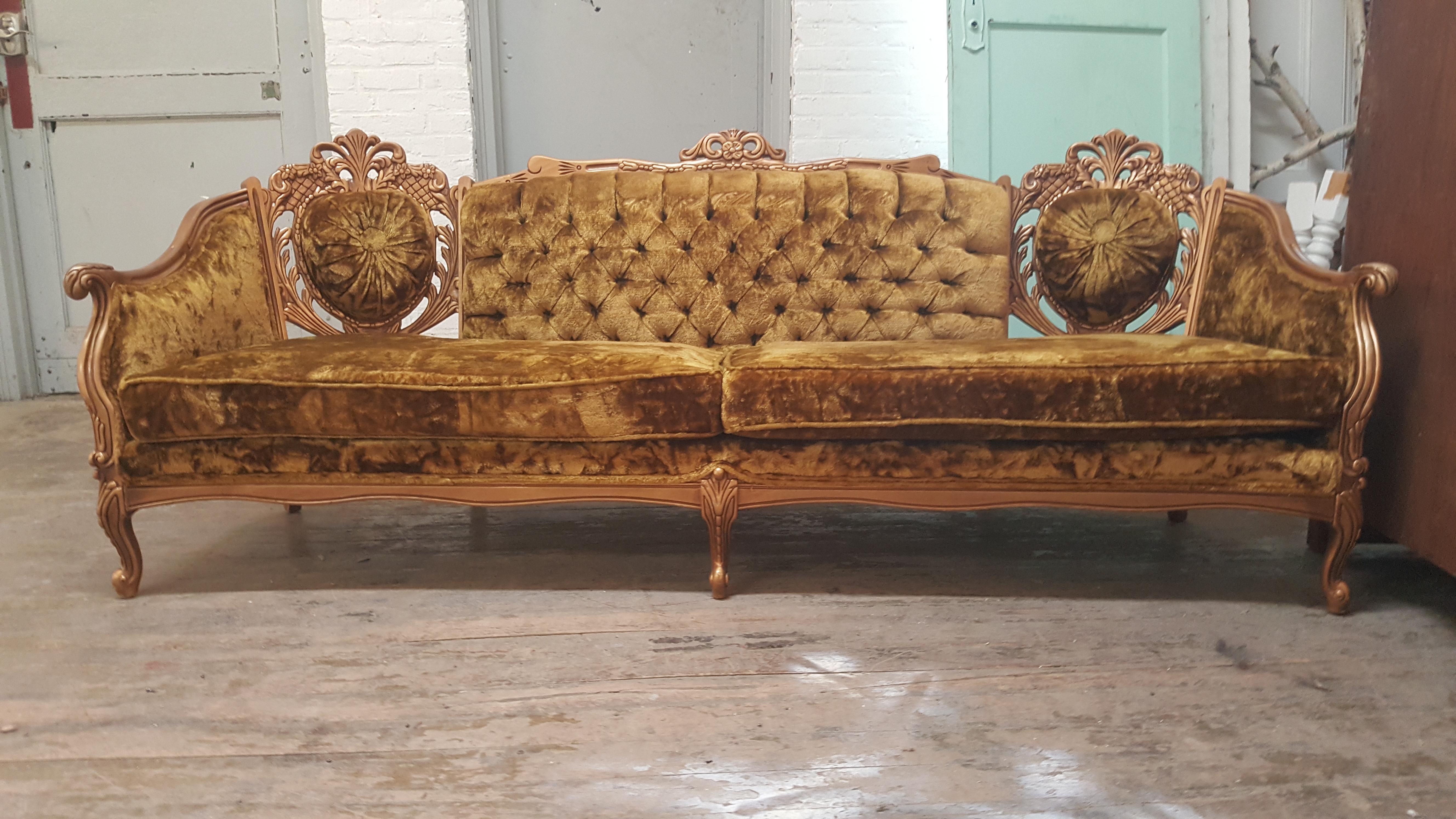 Vintage Hollywood Regency Gold Carved Wood Brown Velvet Couch   Image 2 Of 8