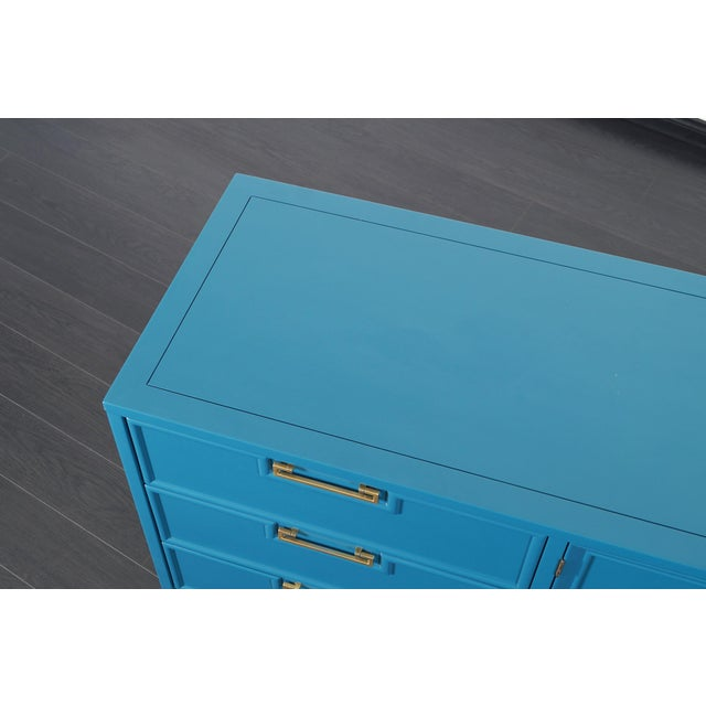 Blue Vintage Lacquered Dresser by American of Martinsville For Sale - Image 8 of 9
