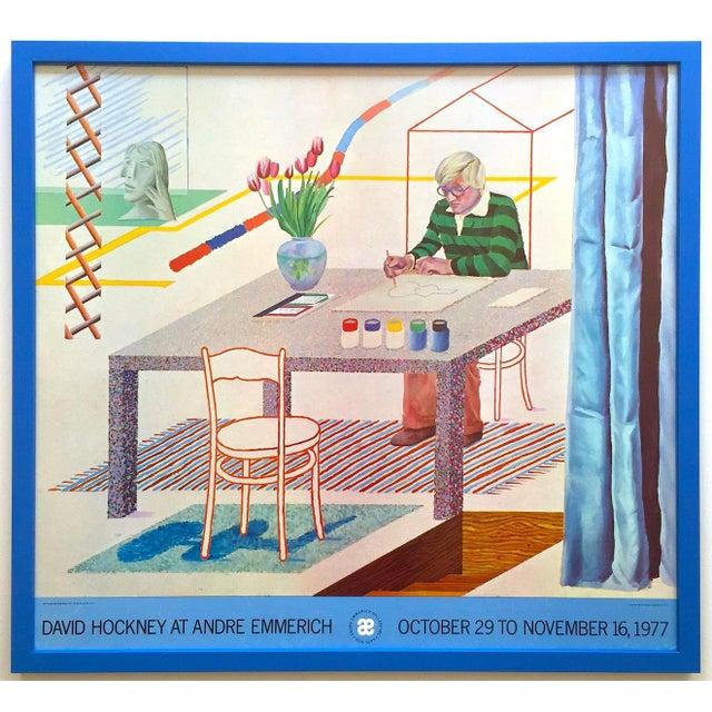 "David Hockney Vintage 1977 Lithograph Print Framed Pop Art Exhibition Poster "" Self Portrait With Blue Guitar "" For Sale - Image 13 of 13"