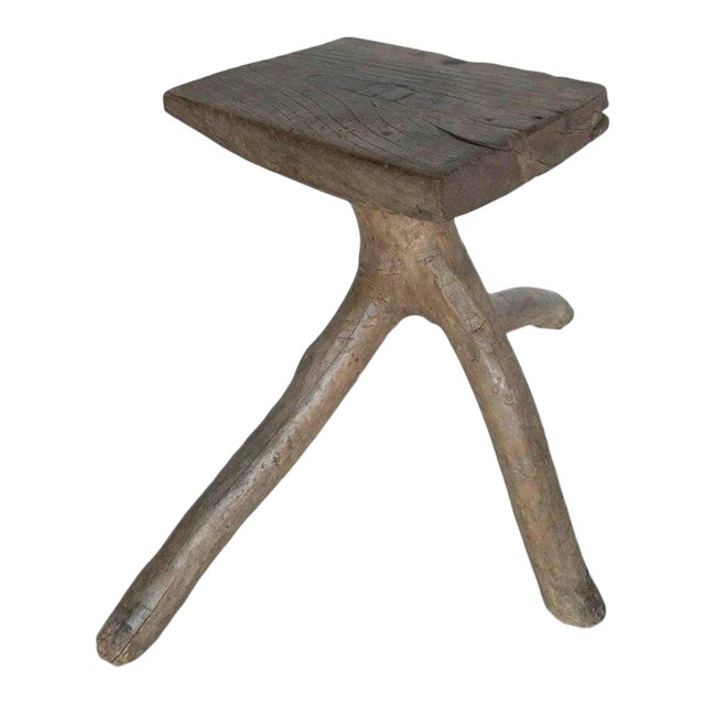Rustic Vintage Three-Legged Elmwood Stool For Sale