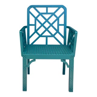 Vintage Green Fretwork and Cane Arm Chair For Sale