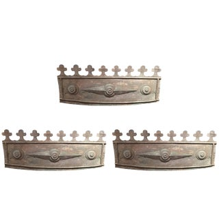 Set of Three English Metal Flower Box Fronts, 19th Century For Sale