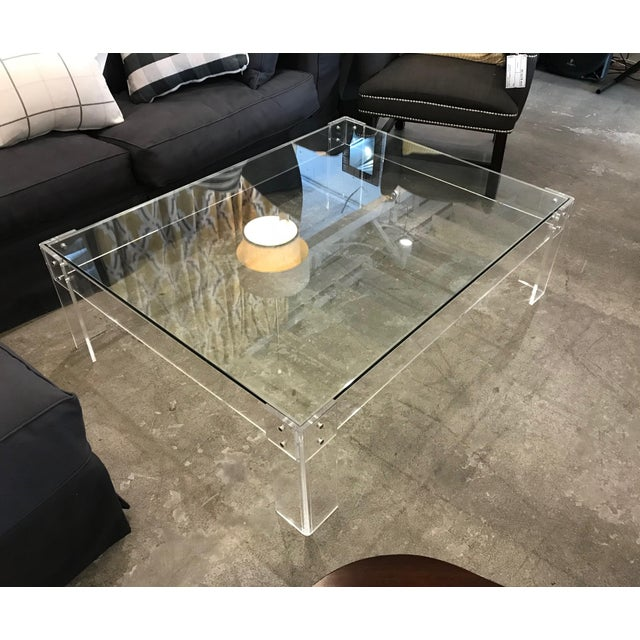 Wisteria Glass Top Acrylic Legs Coffee Table Chairish - Wisteria marble coffee table