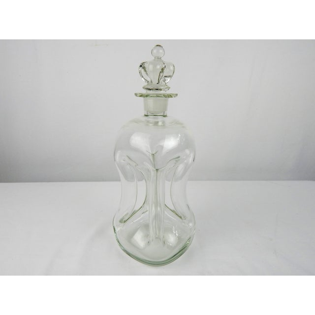 Traditional Vintage Pinch Crystal Decanter For Sale - Image 3 of 8