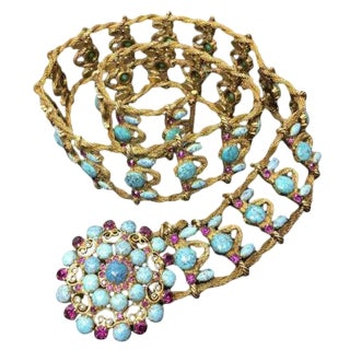 Yves Saint Laurent Couture Metal Belt With Faux Turquoise Cabochons. Museum Quality. 1970's. For Sale