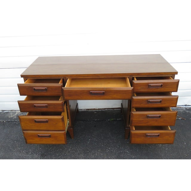Mid Century Modern Large Writing Office Desk For Sale - Image 10 of 13