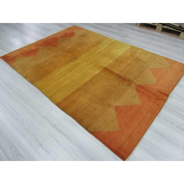 Decorative Yellow Safraan Turkish Gabbeh Rug - 5′6″ × 8′1″ - Image 5 of 6