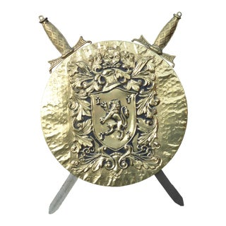Vintage Coat of Arms Medieval Gold Plaque For Sale