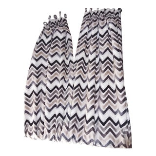 Contemporary Chevron Print Custom Drapes - a Pair For Sale