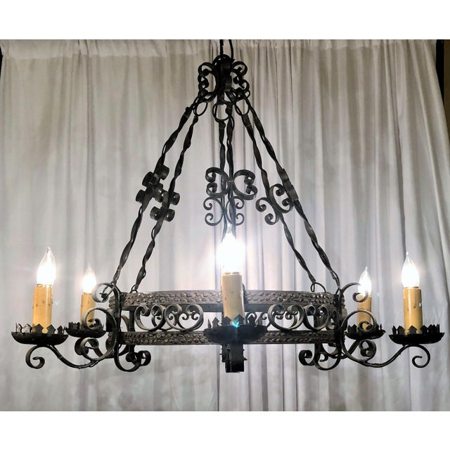 Antique Late 19th Century Wrought Iron 6 Light Fixture
