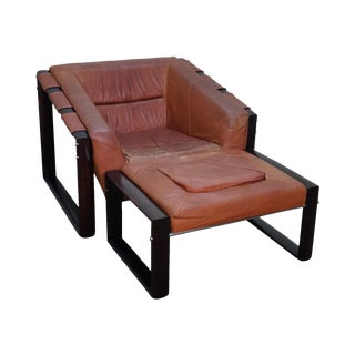 Mid-Century Modern Percival Lafer Rosewood Frame Leather Lounge Chair & Ottoman For Sale