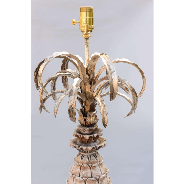1950s Carved Wood and Metal Pineapple Form Lamps - a Pair For Sale - Image 5 of 10
