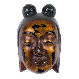 Japanese Plaster Kannon Bosatsu Boddhisattva Mask For Sale