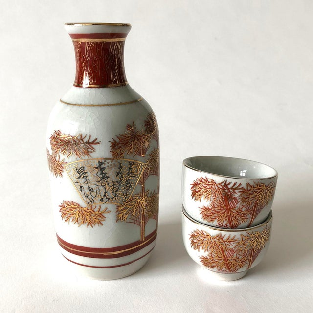 Japanese Ceramic Sake Decanter and Cups Set For Sale In Austin - Image 6 of 6