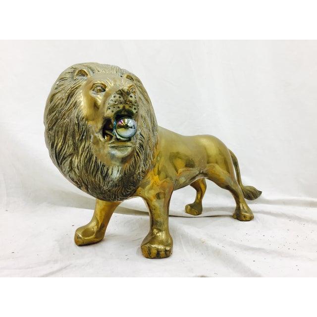 Vintage Brass Lion Sculpture For Sale - Image 4 of 10