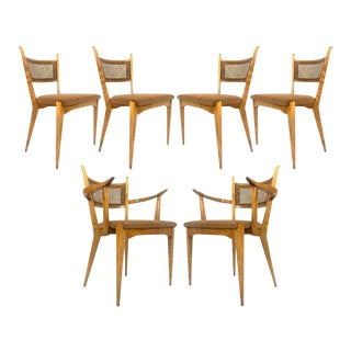 Rare Set of 6 Swedish Modern Cane Back Sculptural Dining Chairs by Edmond Spence For Sale