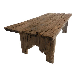 Large Scale Primitive Modern Elm Wood Table