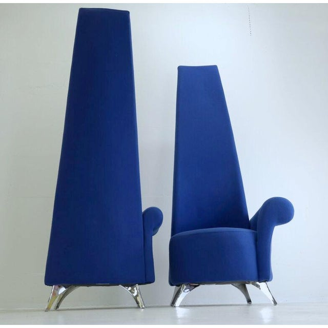 Modern Italian High Back Chairs - A Pair - Image 5 of 8