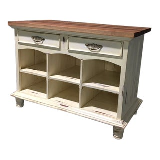 Rustic Kitchen Island With Reclaimed Wood Top For Sale